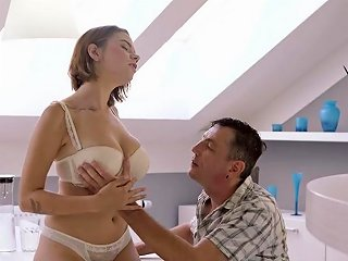 Super Hot Lingerie Teen In Hard Sex Scenes With Daddy