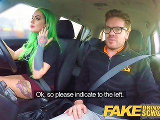 Fake Driving School Wild Ride For Tattooed Busty Beauty