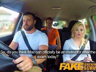 Fake Driving School Big Facial Finish For Posh Examiner
