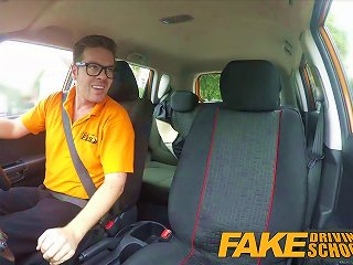 Fake Driving School - Black Haired Euro Babe With Glasses
